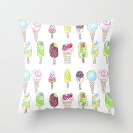 Watercolor. Ice cream . i Throw Pillow