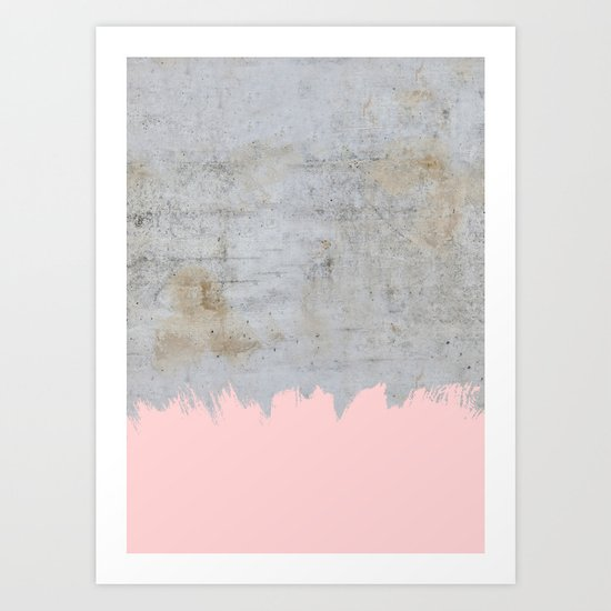 Paint with pink on concrete Art Print