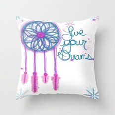 Live Your Dreams - White Throw Pillow