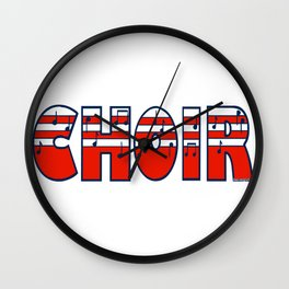 Choir in Patriotic Red White and Blue Music Font Wall Clock