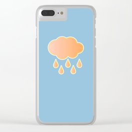 orange cloud, rainy day and blue background Clear iPhone Case