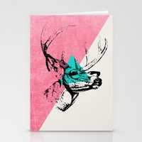 techno Stationery Cards featuring Techno Deer by Zeke Tucker