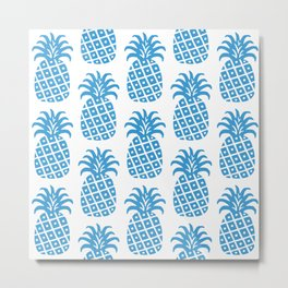 Retro Mid Century Modern Pineapple Pattern 514 Metal Print