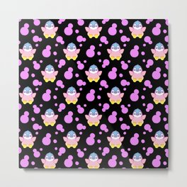 Cute sweet lovely little baby penguins flapping wings, bold pink retro dots black nursery pattern Metal Print