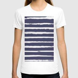 Irregular Hand Painted Stripes Dark Blue T-shirt