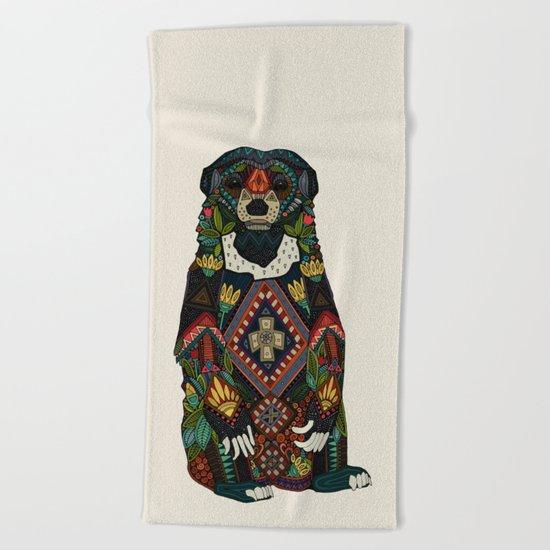 sun bear almond Beach Towel