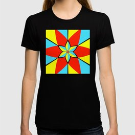Abstract geometric infinite celestial circle star sun flower burst pattern design in red yellow blue T-shirt