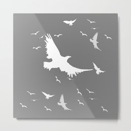 WHITE BIRDS IN FLIGHT GREY ABSTRACT MODERN ART Metal Print