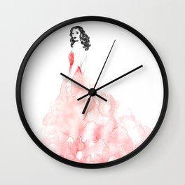 Fashion illustration pink long gown Wall Clock