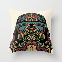 trooper Throw Pillows featuring Candie Trooper by Quakerninja