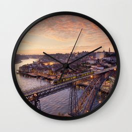 Porto old town at dusk Wall Clock