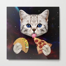 Space Cat with taco and pizza Metal Print