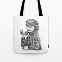 kate moss Tote Bags featuring Kate Moss by Anja-Catharina