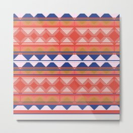 Mix and Match Multi Pattern Blue and Orange Design Metal Print