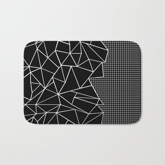Abstract Grid Outline White on Black on Side Bath Mat