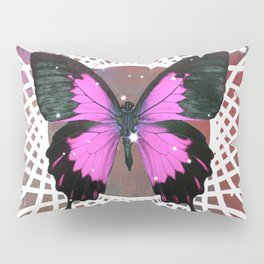 Hot Pink Butterfly in White Design Pillow Sham