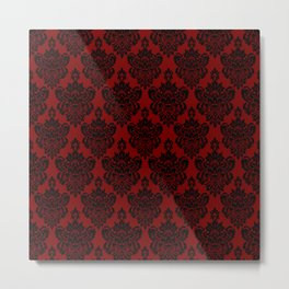 Crimson Damask Metal Print