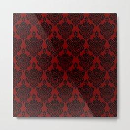 Crimson and Black Damask Metal Print