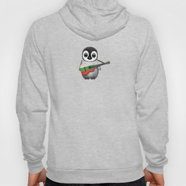 Baby Penguin Playing Bulgarian Flag Acoustic Guitar Hoody