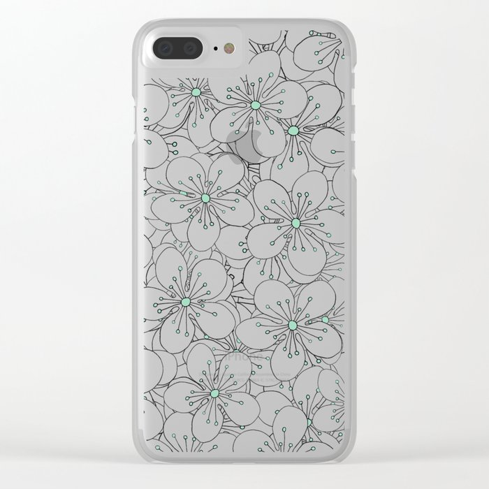 Cherry Blossom Mint Clear iPhone Case