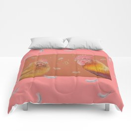 Rooster and Hen Valentine's Day for bird lover Comforters