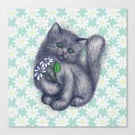 Cute Kitten with Daisies Canvas Print