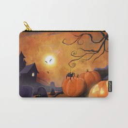 Halloween Cemetery Pumpkins Spiders and Bats Carry-All Pouch