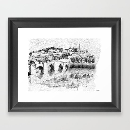 Terrasson village - France drawing Framed Art Print
