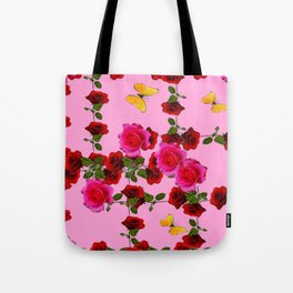 CLIMBING PINK & RED ROSES YELLOW BUTTERFLIES Tote Bag