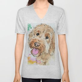 Joyful Cockapoo Art Unisex V-Neck