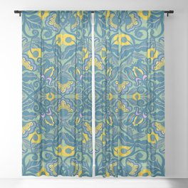 Blue Vines and Folk Art Flowers Pattern Sheer Curtain