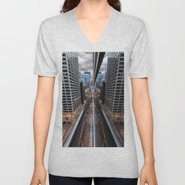 Chicago Reflection from a Rooftop Unisex V-Neck