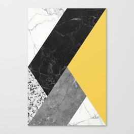 Black and White Marbles and Pantone Primrose Yellow Color Canvas Print