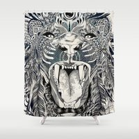 laptop Shower Curtains featuring Lion by Feline Zegers