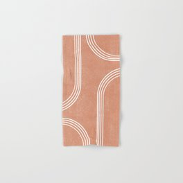 Mid Century Modern 2 - Geometrical Abstract - Minimal Print - Terracotta Abstract - Burnt Sienna Hand & Bath Towel