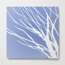 Tree Silhouette Periwinkle Blues Metal Print