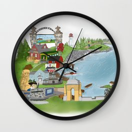 Louisbourg Illustrated in Color Wall Clock