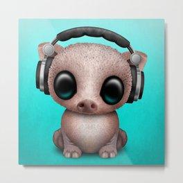 Cute Baby Pig Deejay Wearing Headphones Metal Print