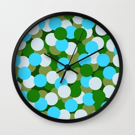 Abstraction_DOTS_GREEN_BLUE_COLOR_03 Wall Clock