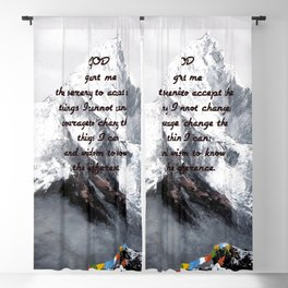 Serenity Prayer With Panoramic View Of Everest Mountain Blackout Curtain
