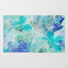 blue turquoise mixed media flower illustration Rug