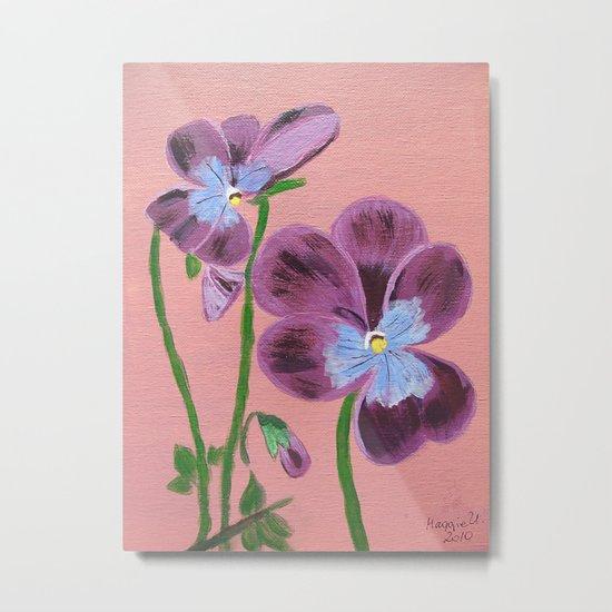 Purple pensies  Metal Print
