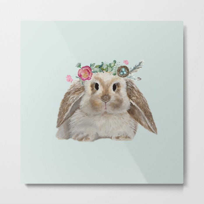 Spring Bunny with Floral Crown Metal Print