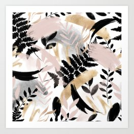 Pink black white faux rose gold brushstrokes floral Art Print