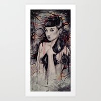 pinup Art Prints featuring pinup by Andreea Red