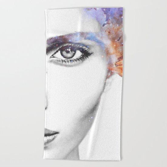 Girl with stars in her hair Beach Towel