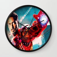 robert downey jr Wall Clocks featuring R. DOWNEY JR. ** by Hands in the Sky