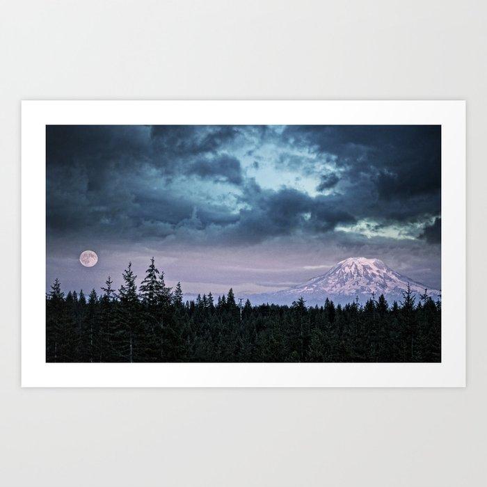 Mount Rainier's Moon Art Print