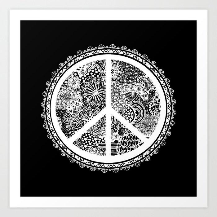 Zen Doodle Peace Symbol Black And White Art Print By Lebensartdesign