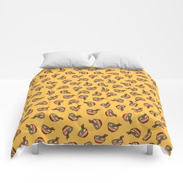 Ramen Bowl Pattern in Orange Comforters